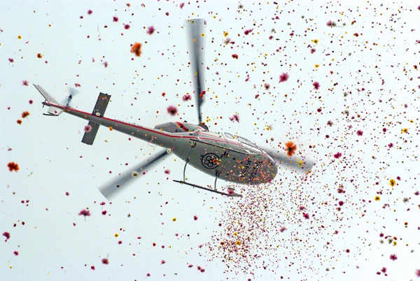 HELICOPTER FOR FLOWER DROP IN JHARKHAND